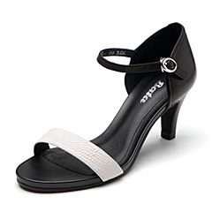 Bata/拔佳2019?#30007;?#27454;专柜同款羊皮革通勤高跟包跟女凉鞋AH904BL9