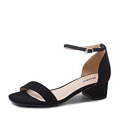 Bata/拔佳2019?#30007;?#27454;黑色羊绒皮革包跟中跟女凉鞋1013DBL9