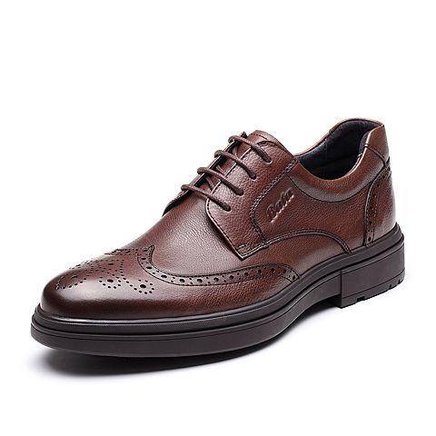 Bata2019冬專柜同款復古布洛克雕花牛皮革商務男士正裝鞋YM049DM9
