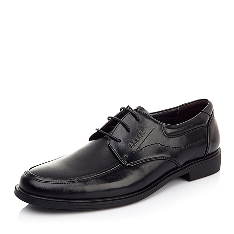 BELLE/百丽春季常青款黑色牛皮男单鞋A0116AM2婚鞋系列