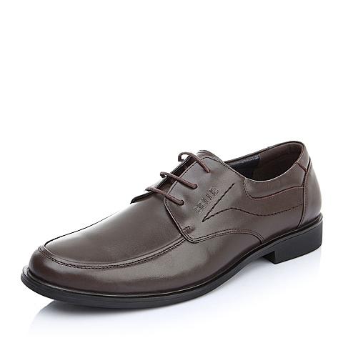 BELLE/百丽春季常青款棕色牛皮男单鞋A0116AM2婚鞋系列