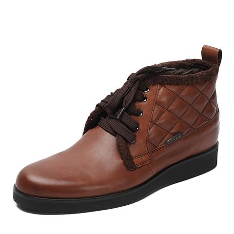 BELLE/百丽冬季专柜同款浅啡色牛皮男低靴38F46DD2