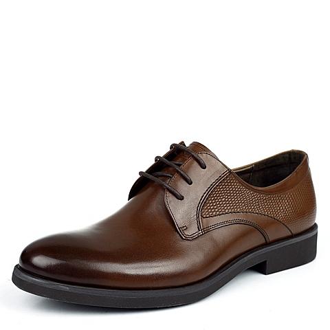 BELLE/百丽秋季专柜同款棕色牛皮男皮鞋1YB01CM3