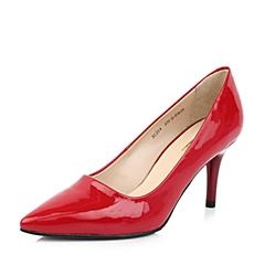 Belle/百丽秋季大红色牛漆皮女单鞋3S204CQ3