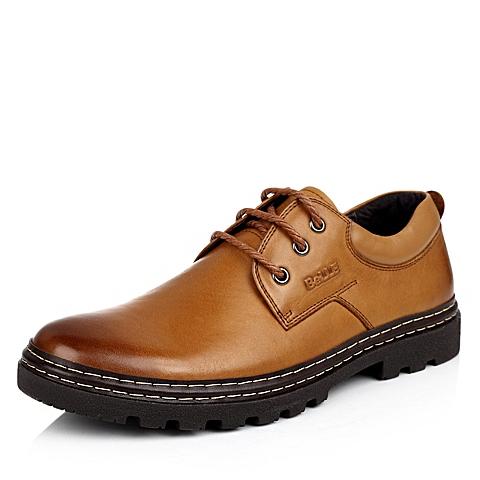 BELLE/百丽秋季专柜同款黄棕油磨砂牛皮男皮鞋1YZ01CM3