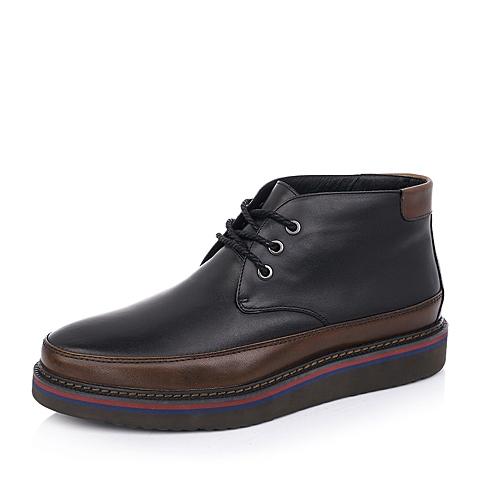 Belle/百丽冬季黑色打腊牛皮/棕色牛皮男皮靴02833DD4