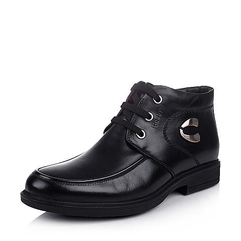 Belle/百丽冬季黑色牛皮男皮靴T0819DD4