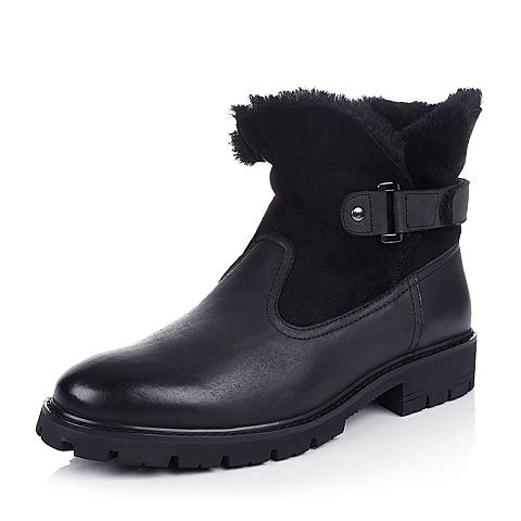 Belle/百丽冬季黑色油磨砂牛皮/黑色羊皮毛一体男皮靴A8631DD4