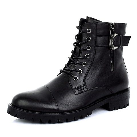 Belle/百丽冬季黑色牛皮男皮靴3006HDZ4