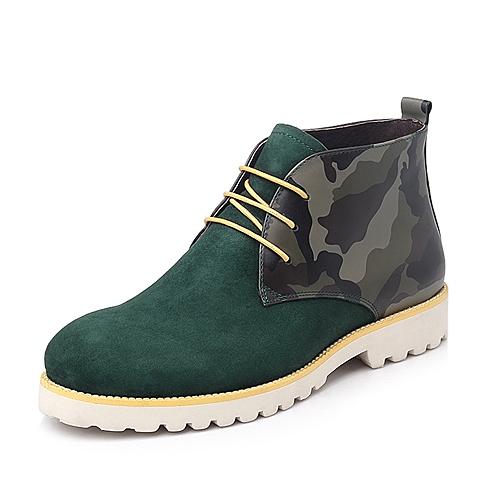 Belle/百丽绿色迷彩牛皮/反绒羊皮RX013DD4男皮靴冬季