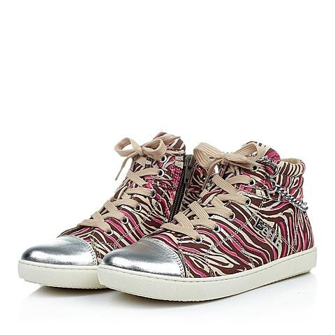 BELLE/百丽童鞋专柜同款秋冬季超纤皮桃红女中童皮鞋91843