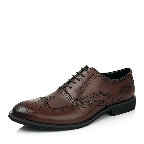 BELLE/百丽男鞋棕色商务正装皮鞋英伦布洛克鞋牛皮男单鞋4288DDM4