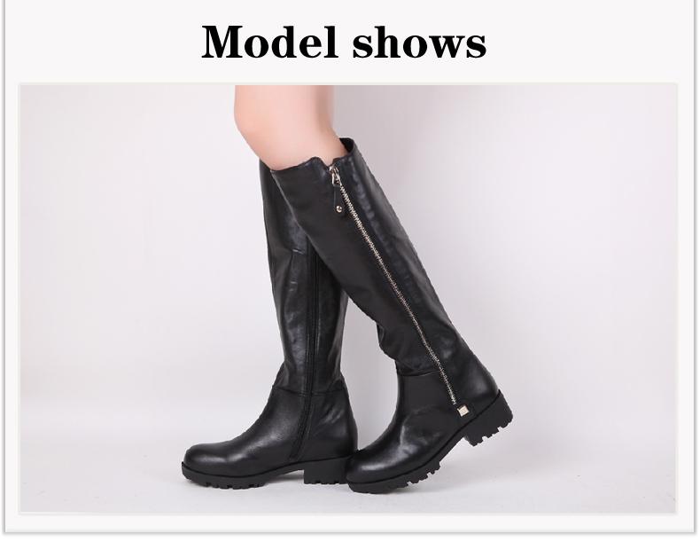 belle/百丽冬季黑色软牛皮女皮靴bex72dg4 专柜2