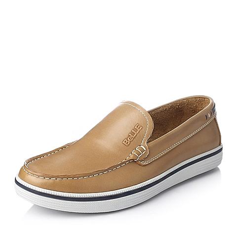 Belle/百丽春季土黄色牛皮男单鞋10361AM4