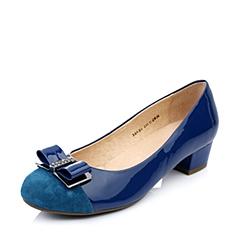 BELLE/百丽春季专柜同款深兰羊绒漆/深兰羊绒女单鞋3B6B5AQ4