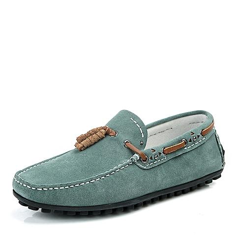 BELLE/百丽春季绿色反绒牛皮男单鞋B707DAM4