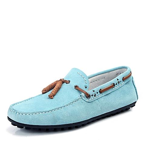 BELLE/百丽春季浅蓝色反绒牛皮男单鞋B707DAM4