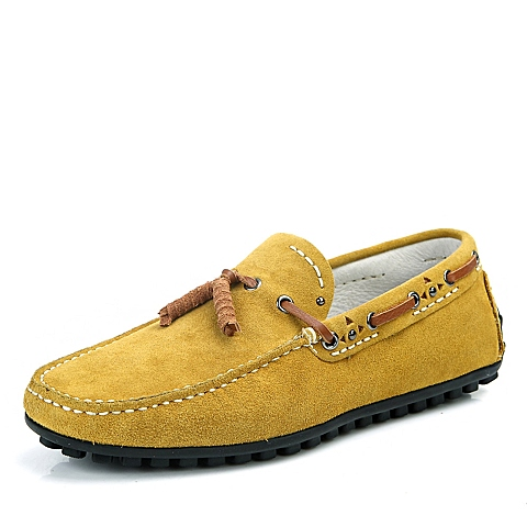 BELLE/百丽春季土黄色反绒牛皮男单鞋B707DAM4