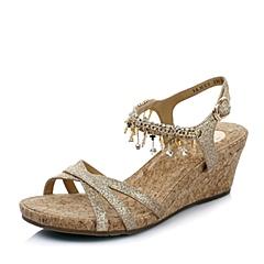 Belle/百丽夏季专柜同款金色亮片布坡跟链子女凉鞋3RMC6BL4
