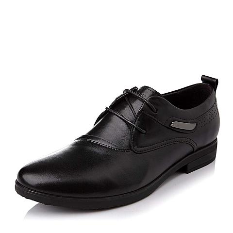 Belle/百丽秋季专柜同款黑色牛皮系带男单鞋2UD01CM4