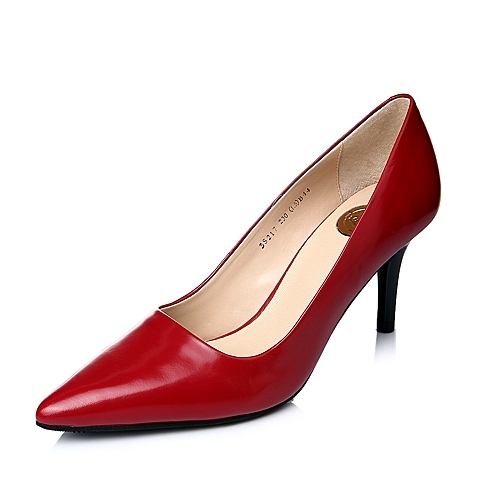 Belle/百丽秋季专柜同款红色光牛皮浅口女单鞋3S217CQ4