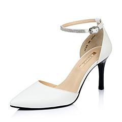 BELLE/百丽白色绵羊皮中空女皮鞋2015春季3Z438AK5