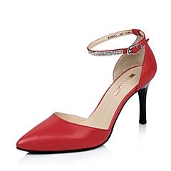 BELLE/百丽红色油皮山羊皮女皮鞋2015春季3Z438AK5