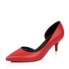 Belle/百丽2015年春季红色羊皮中空尖头女单鞋BGA30AK5
