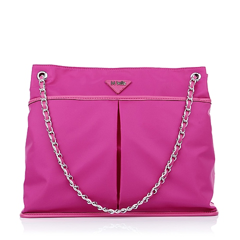 Ist belle/百丽箱包玫红色化纤布单肩手袋C1111AX5