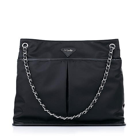 Ist belle/百丽箱包春季黑色化纤布单肩手袋C1111AX5