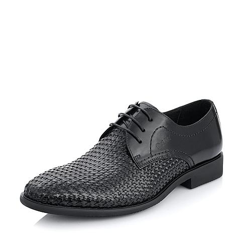 Belle/百丽年春季黑色牛皮/编织牛皮男单鞋A7411AM5