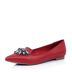 Belle/百丽红色羊皮女单鞋2015春季88-11AQ5