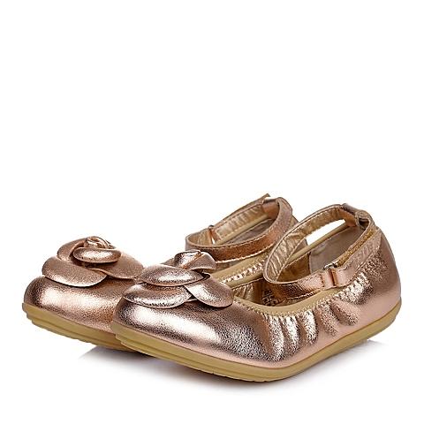 Belle/百丽童鞋2015春季新款专柜同款羊皮浅粉女中童皮鞋94008