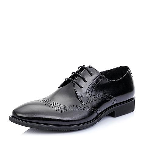 Belle/百丽夏季黑色牛皮男单鞋A1235BM5