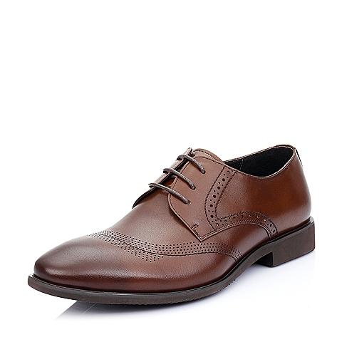 Belle/百丽夏季棕色牛皮男单鞋A1235BM5
