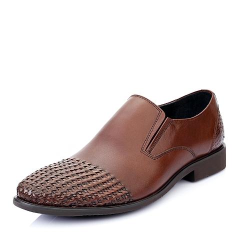 Belle/百丽夏季棕色牛皮男单鞋A1231BM5
