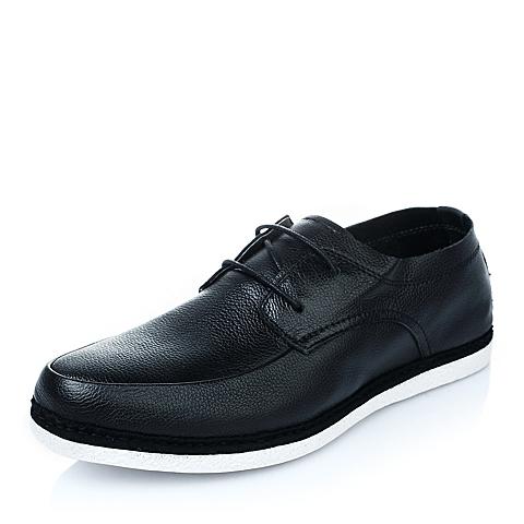 Belle/百丽年夏季黑色牛皮系带男单鞋A9611BM5