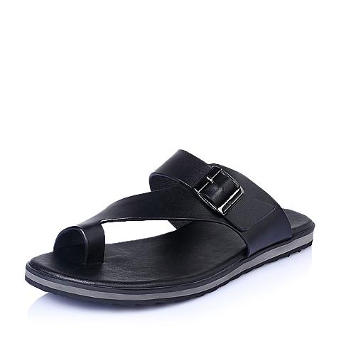 Belle/百丽夏季黑色牛皮时尚休闲男鞋15823BL5