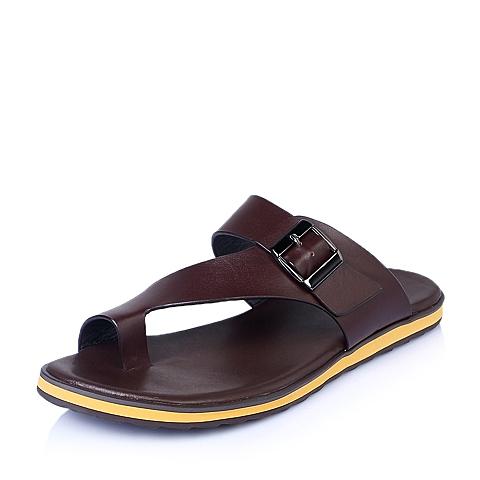 Belle/百丽夏季深棕色牛皮时尚休闲男鞋15823BL5