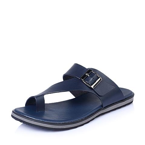 Belle/百丽夏季深蓝色牛皮时尚休闲男鞋15823BL5
