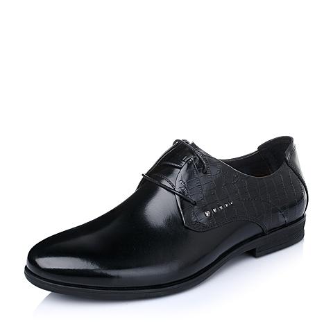 Belle/百丽春季专柜同款黑色牛皮男皮鞋3QR01AM5