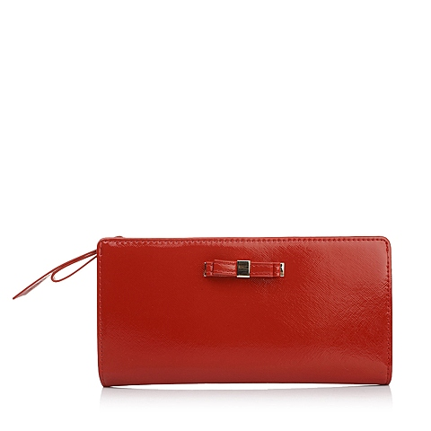 Ist belle/百丽箱包红色十字纹人造革时尚精致钱夹Q8001BX5