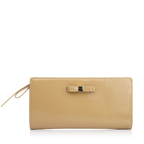 Ist belle/百丽箱包夏季棕色十字纹人造革时尚精致钱夹Q8001BX5