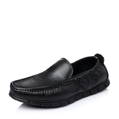 Belle/百丽春季专柜同款黑色牛皮男休闲鞋3LR01AM5