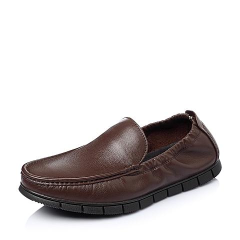 Belle/百丽春季专柜同款棕色牛皮男休闲鞋3LR01AM5