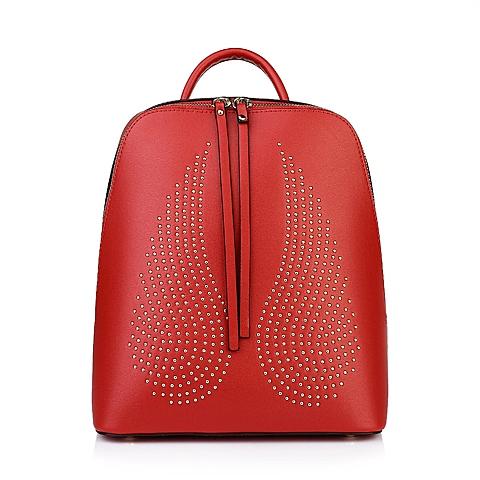 Ist belle/百丽箱包红色细纹人造革双肩包6S082CX5