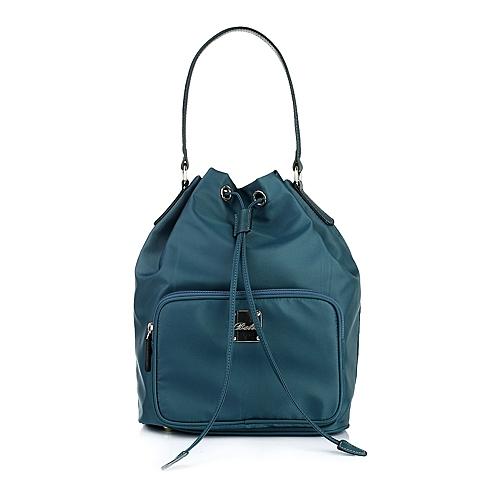 Ist belle/百丽箱包墨绿化纤布手袋0125LCX5