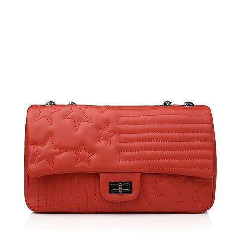 Ist belle/百丽箱包红色细纹人造革菱格包11230CX5