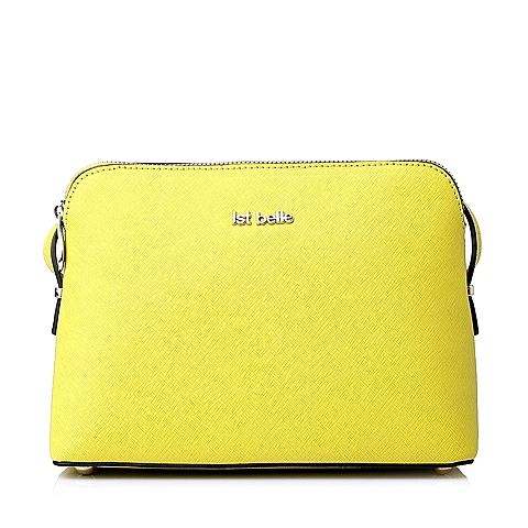 Ist belle/百丽箱包黄色十字纹牛皮女手袋1033ACX5