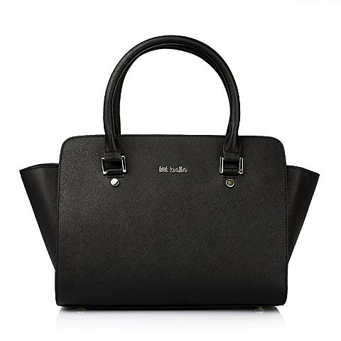 Ist belle/百丽箱包黑色十字纹牛皮女手袋1014ACX5